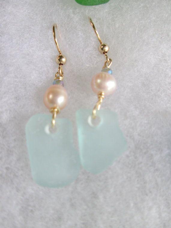 Genuine sea glass earrings with fresh water pearls