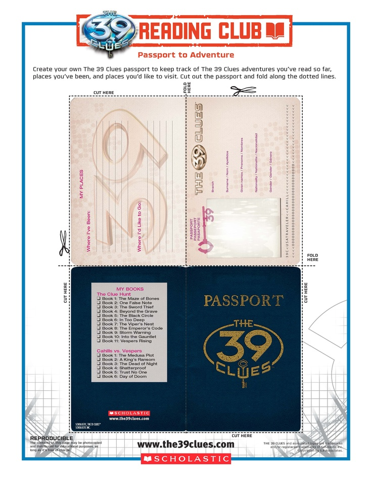 Have club members make their own PASSPORT TO ADVENTURE with THE 39 CLUES! Find more FREE activities here: http://www.scholastic.com/readingclub/the39clues/