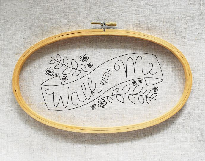 Walk with Me // free embroidery pattern from wild olive