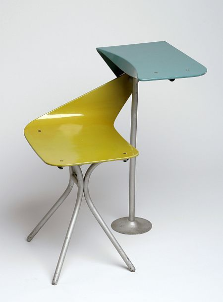 Maria Chomentowska; School Chair with Integrated Desk for IWP, 1965.