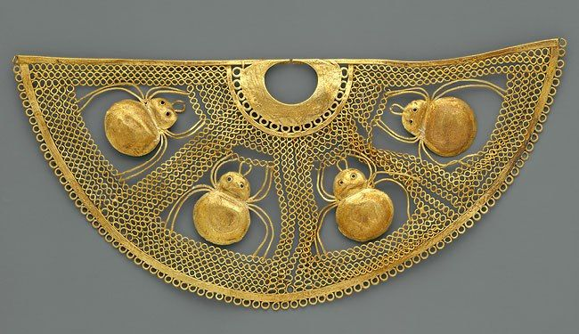 Nose ornament with spiders, 1st century B.C.–1st century A.D. Peru; Salinar