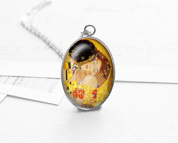 The Kiss Pendant Necklace Gustav Klimt Romantic by petiteVanilla