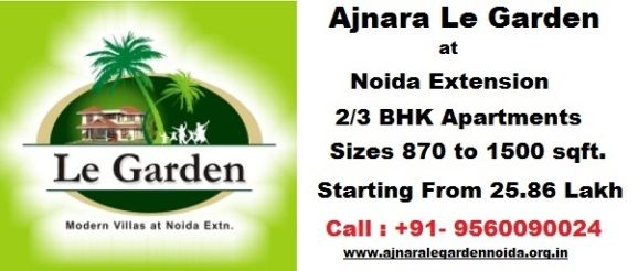 Ajnara Group has launched new residential project Ajnara Le Garden at Noida Extension. It offers 2, 3 and 4 BHK and Villas with all modern amenities and features such as basic requirement, spacious flats, Advance Protection, Gym, Spa, Landscape and more. http://www.ajnaralegardennoida.org.in