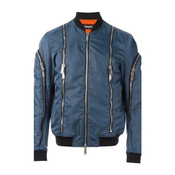 DSQUARED2 Zip Detail Bomber Jacket ($1,052) ❤ liked on Polyvore featuring men's fashion, men's clothing, men's outerwear, men's jackets, blue, mens leather sleeve jacket, mens blue jacket, mens leather flight jacket, mens leather jackets and mens blue bomber jacket