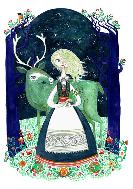 nordic tale, north, elk, reindeer, norwegian, folklore, folk girl, illustration, blonde girl, night, fine art print, digital art, marina plantus, atelierul de print, cadou de arta, gift, present Story from Norway Marina Plantus