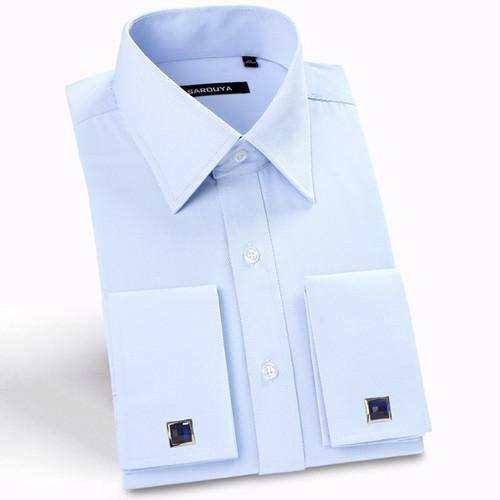 Men's Luxury French Cuff Solid Color  Peaked Collar Long Sleeve Classic-fit Shirts with cufflinks