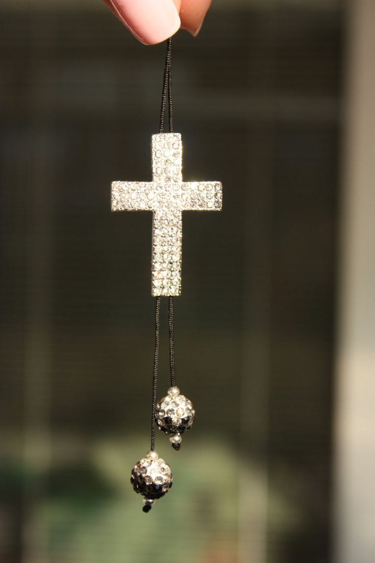 Car Accessory Silver cross rear view mirror car charms with Swarovski crystal elements. by tipatmazal on Etsy