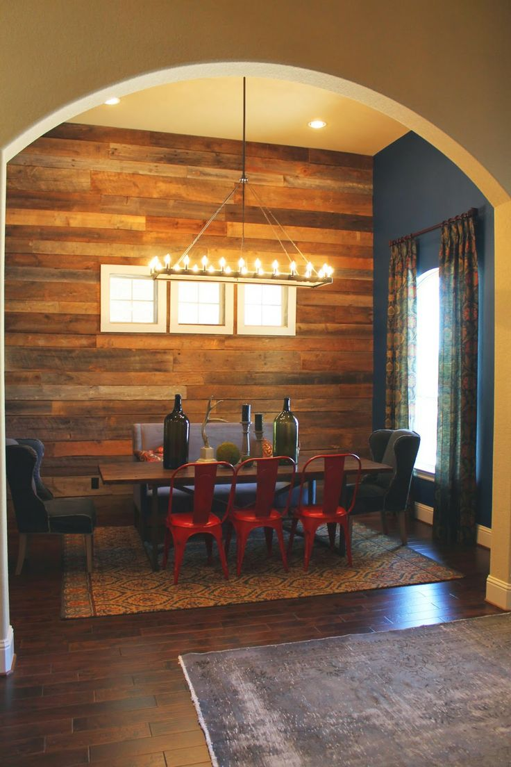 Wood Feature Walls Dining Room Wall Covered With Salvaged And Paired