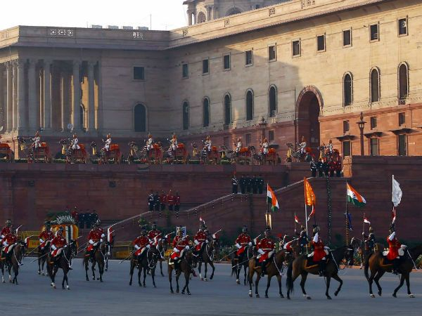 In India, it officially denotes the end of Republic Day festivities. It is conducted on the evening of 29 January, the third day after the Republic Day. It is performed by the bands of the three wings of the military, the Indian Army, Indian Navy and Indian Air Force, and pipe bands from the Army, plus from 2016 a massed formation of bands of the Central Armed Police Forces and the Delhi Police.
