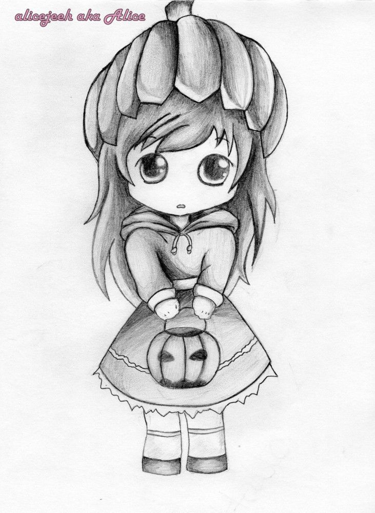 Cute anime little girl cute sketches cartoon girl