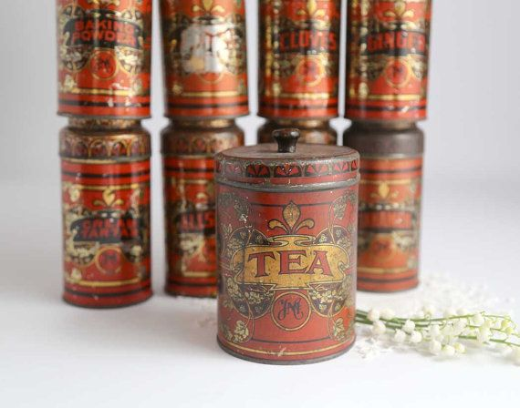Antique Spice Tins Set of 9 Vintage YMC Spice by TheHeirloomShoppe