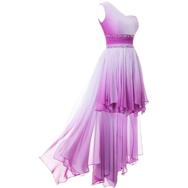 Sunvary One Shoulder High Low Chiffon Bridesmaid Dresses Homecoming... ($40) ❤ liked on Polyvore featuring dresses, gowns, purple evening dresses, purple evening gowns, one shoulder bridesmaid dresses, one shoulder chiffon dress and purple ball gowns