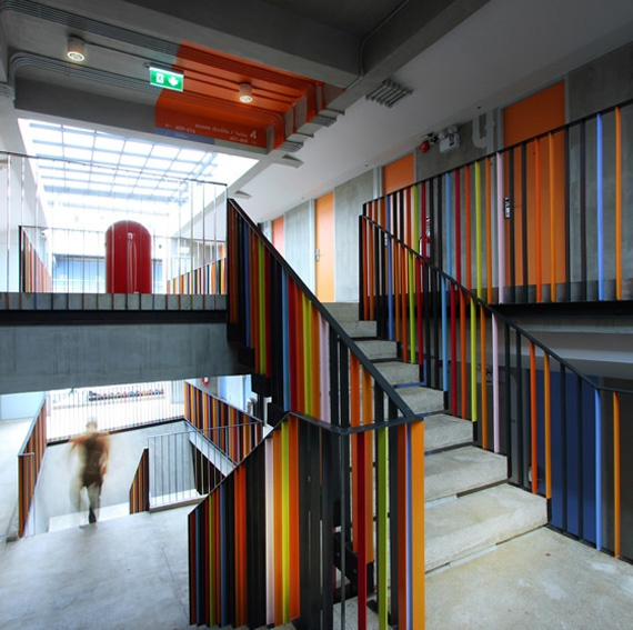 Hostel Bangkok: Bangkok, Railings, Hostel Design, Colors Staircas, Inspiration, Stairs, Interiors, Painting, Colours Palettes