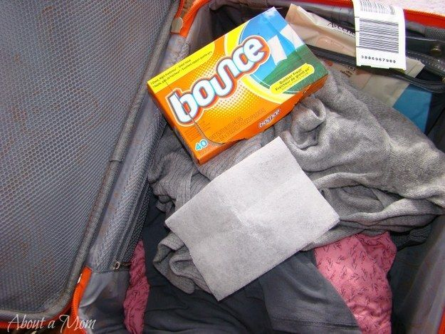 Stick a dryer sheet in your suitcase with your clothes to keep them smelling fresh. | 28 Brilliant Travel Hacks You Need To Know For Summer Vacations