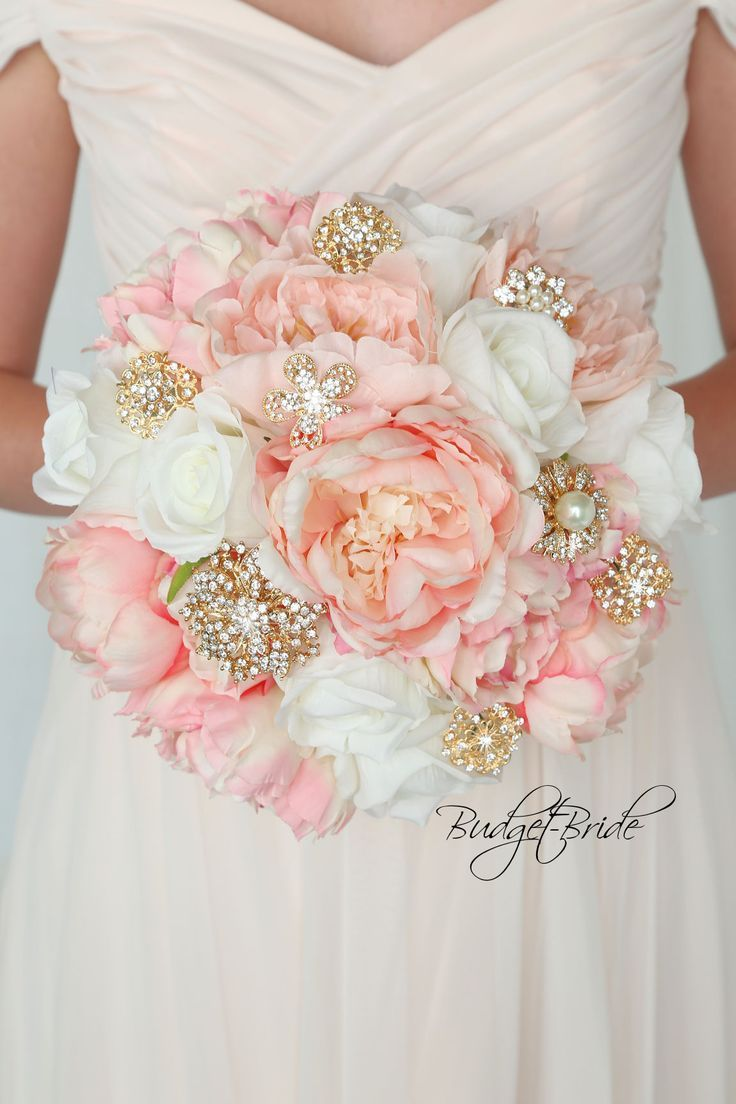 2651eae922f Gold and Blush Davids Bridal Wedding Bouquet with brooches