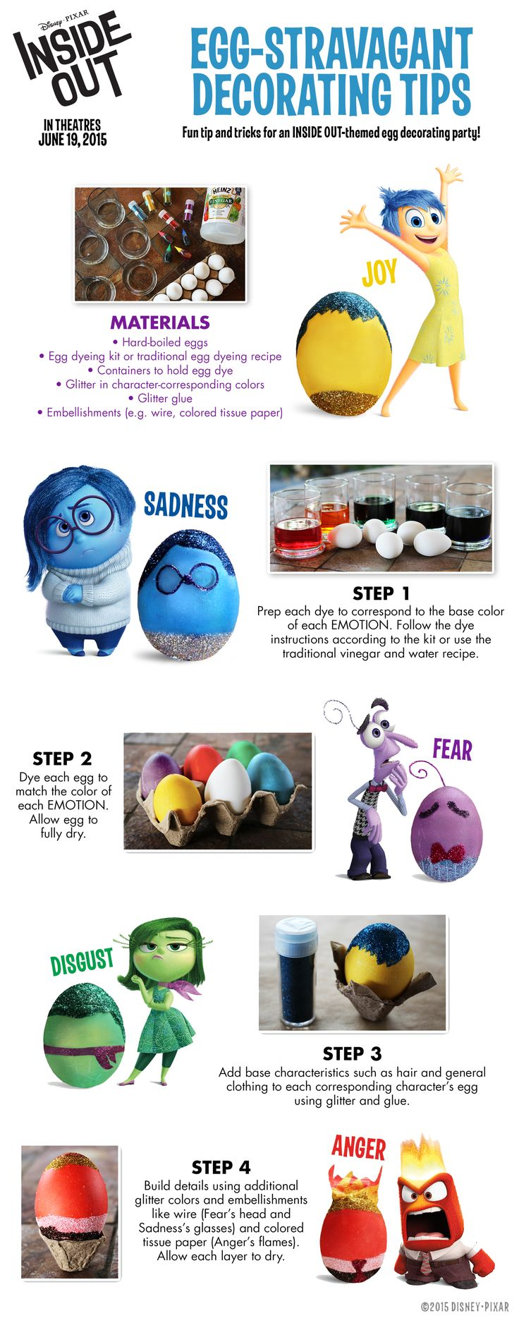 Fun idea for egg decorating from Disney Pixars #InsideOut Use the egg decorating tutorial to create egg-stravagant colorful eggs!