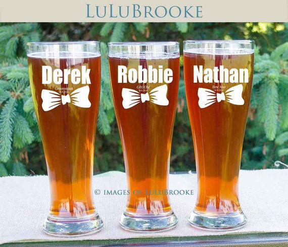 Groomsmen Gifts Personalized Beer Glasses Wedding by LuluBrooke