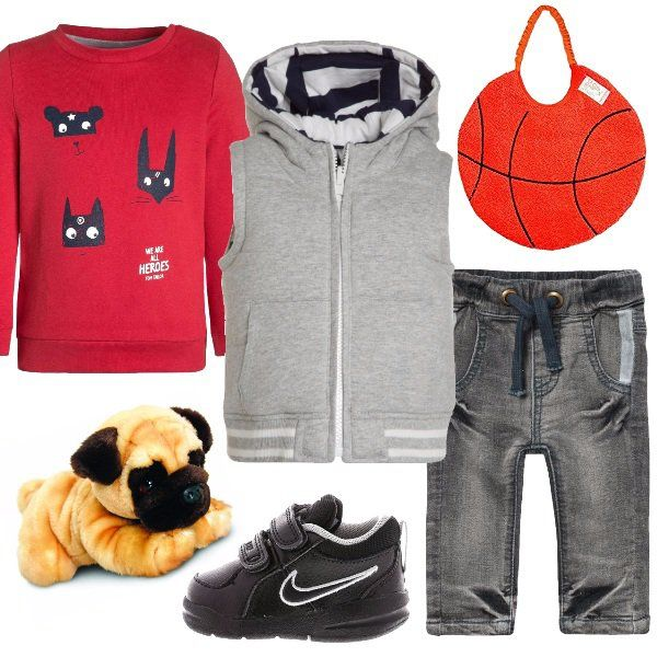 Per+il+nostro+cucciolo+un+look+perfetto+per+i+momenti+di+gioco.+Pantaloni+sportivi+grey+denim+con+fascia+elastica,+felpa+red+mars+e+smanicato+con+cappuccio+grey.+Le+scarpe+sportive+Nike+con+velcro+completano+il+nostro+outfit+senza+dimenticare+il+peluche+e+il+bavaglino+a+forma+di+pallone+da+basket,+fondamentale+nel+momento+della+pappa.