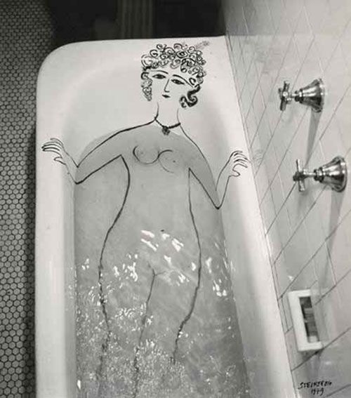 Girl in Bathtub 1949 , Saul Steinberg