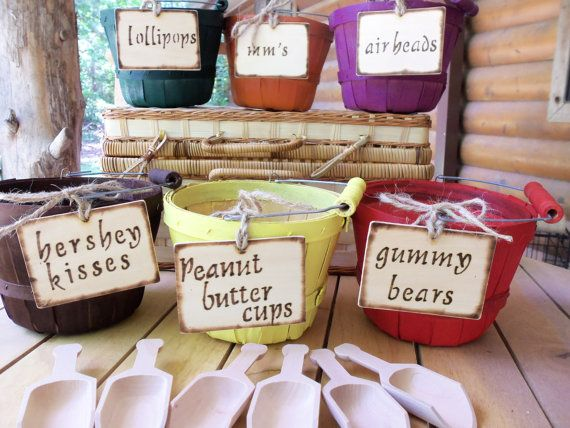 Candy Bar - Set of 6 - Hand Painted Wood Baskets Perfect for your Wedding Candy Bar  - by GoRustic