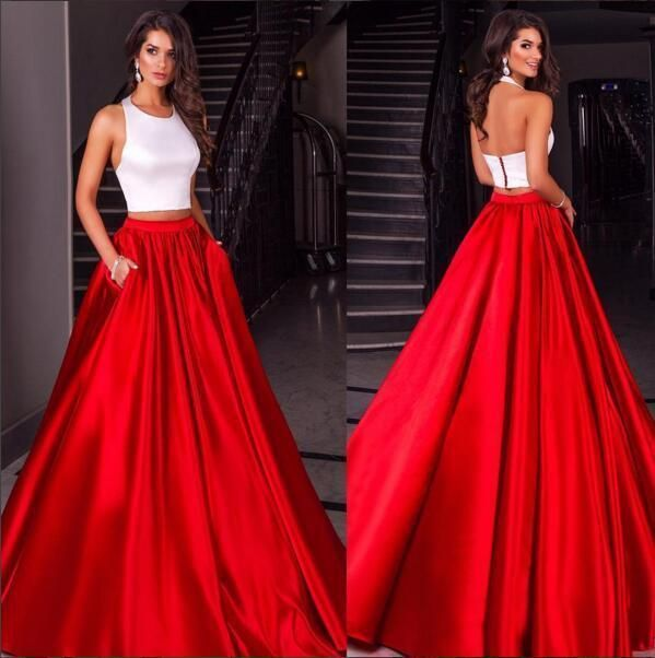 2016 New Two Pieces Prom Dresses Long Halter White Red Satin Long Custom Made Formal Pageant Gowns Plus Size Party Dress Online with $129.85/Piece on Haiyan4419's Store | DHgate.com