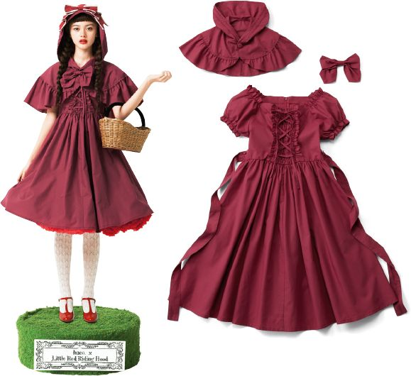 Little red riding hood inspired lolita outfit with hooded capelet and detachable bow.