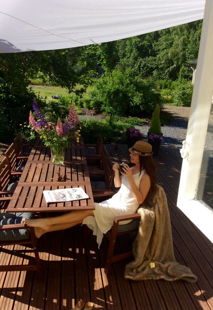 Cottage summer terrace and the morning sun