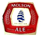 """This is a really cool, Molson Ale bar sign made of molded plastic by KCS Manufacturing. The sign is circa 1970s and features a ship. It's in good condition with some minor discoloration on the gold border. The sign measures 13"""" tall and 14"""" across. It's approximately 1.5"""" wide."""