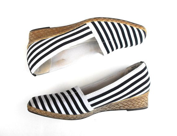 Retro Nautical Espadrilles Vintage 1980s-1990s Beach Resort Life Stride Wedge Navy & White Stripe Braided Rope High Heel Summer Sandal Shoes on Etsy, $75.00