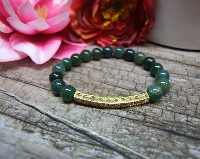 Moss agate bracelet / Natural gemstone bracelet, Fine jewelry, Crystal gemstone, Healing reiki yoga jewelry