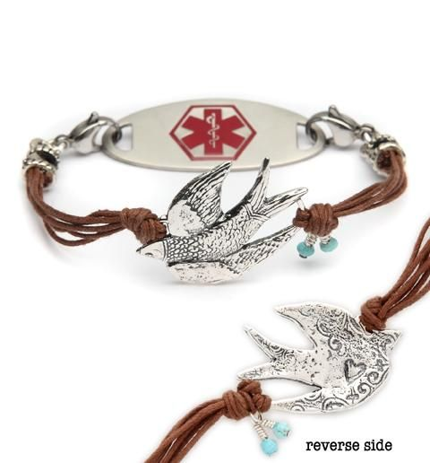 """Birdie Medical ID Bracelet. No more """"old lady"""" medical id's. These are modern and fun. I own several from Lauren's Hope and love them all."""