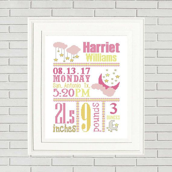 63 best cross stitch baby images on pinterest cross stitch baby baby girl cross stitch patterncustom cross stitchbaby cross stitchbirth announcementnew baby giftbaby shower giftbaby boy pattern negle Image collections