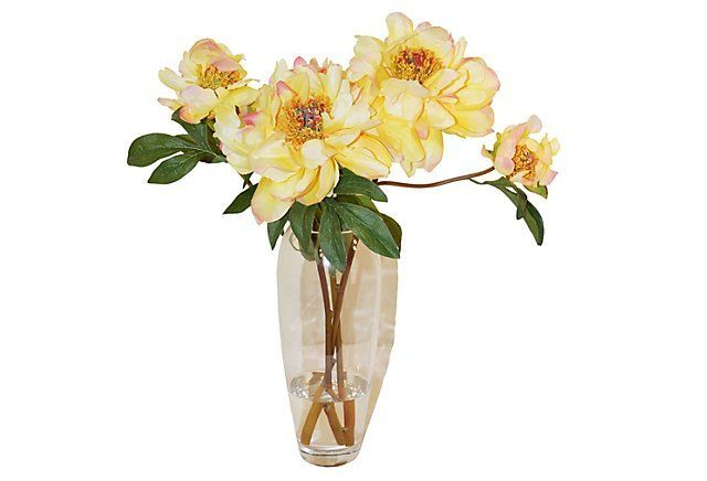"""21"""" Peonies in Glassware, Faux 