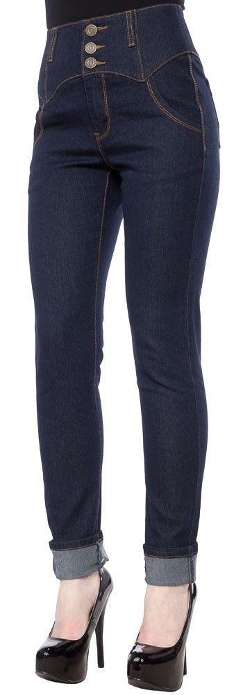COLLECTIF REBEL KATE DENIM PANTS NAVY $60.00