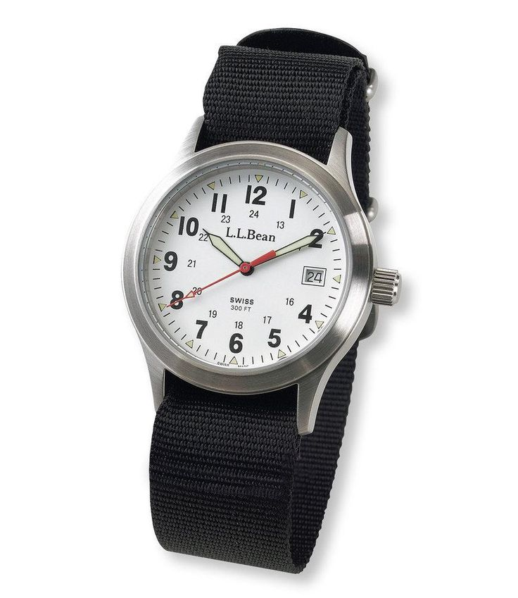 """""""Inspired by watches worn by World War II infantrymen, our rugged field watch comes with two interchangeable webbing bands that fit your wrist comfortably. Precise Swiss-jeweled movement... More Details"""