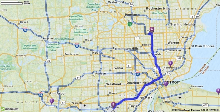 Driving Directions from 1607 E Big Beaver Rd, Troy, Michigan 48083 to Detroit Metropolitan Wayne County Airport (DTW) in Romulus, Michigan 48174 | MapQuest