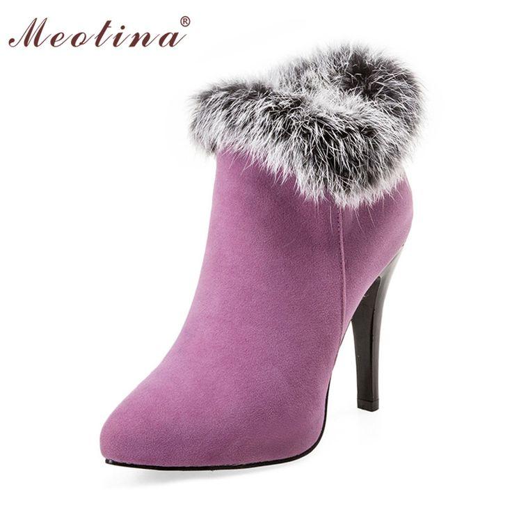 Meotina Shoes Women High Heels Ankle Boots Winter Boots Platform High Heels Ladies Boots ZipWhite Purple Big Size 10 11 44 45