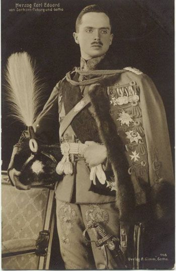 Grandchild of Queen Victoria - Charles Edward, Duke of Saxe-Coburg and Gotha (1884 – 1954), fourth and last reigning Duke of Saxe-Coburg and Gotha, two duchies in Germany (1900 to 1918) & the head of the House of Saxe-Coburg and Gotha from 1900 until his death in 1954. A male-line grandson of Queen Victoria & Prince Albert, he was also until 1919 a Prince of the United Kingdom & held the British title of Duke of Albany. The Duke married Princess Victoria Adelaide of Schleswig-Holstein