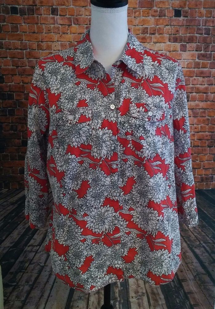 Croft and Barrow Womens LARGE Floral Graphic Print Coral Button Down Shirt (L) #CroftBarrow #ButtonDownShirt #Career