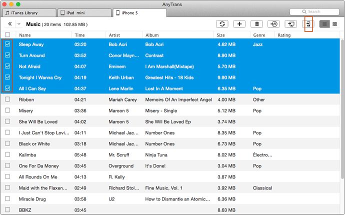 How to Transfer Music from iPhone to iPad/iPad to iPhone – Step 3