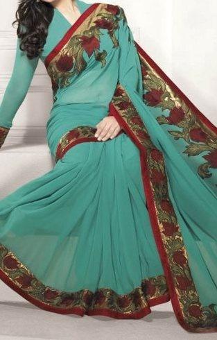Turquoish bordered saree by SV