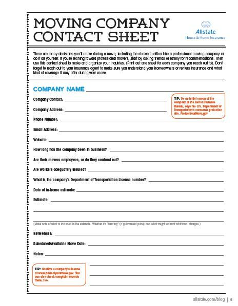 Moving Guide - Moving Company Contact Sheet | Moving ...
