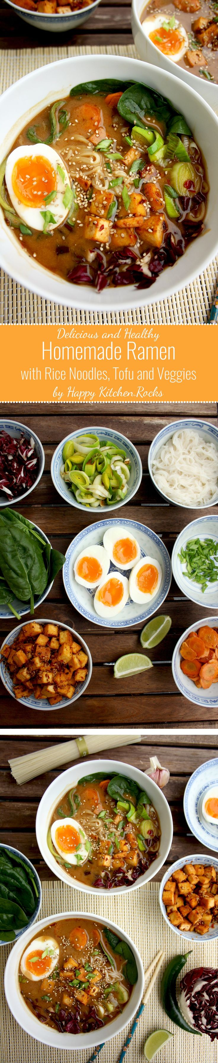 Healthy Ramen with Rice Noodles, Spicy Tofu, Lots of Veggies and Soft-Boiled Eggs: A great gluten-free and healthy homemade alternative to restaurant ramen (Chicken And Broccoli Recipes)