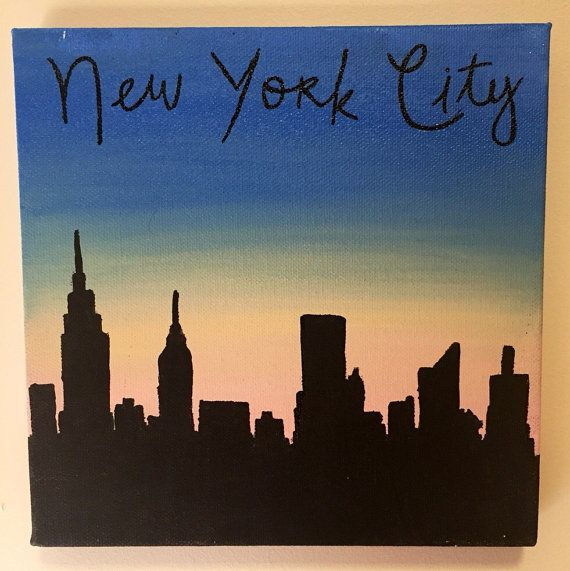 Calling all New Yorkers! Featuring the skyline of the worlds greatest city (I may be biased), this canvas is perfect for expressing your love of the city that never sleeps. A clear black silhouette against the colors of the setting sun sits beneath the words New York City.  This canvas is available in multiple sizes, including: - 6x6 - 8x8 - 10x10 - 12x12  HANGING Hanging hardware is not automatically included, but a sawtooth hanger may be installed upon request for no additional fee. Please…