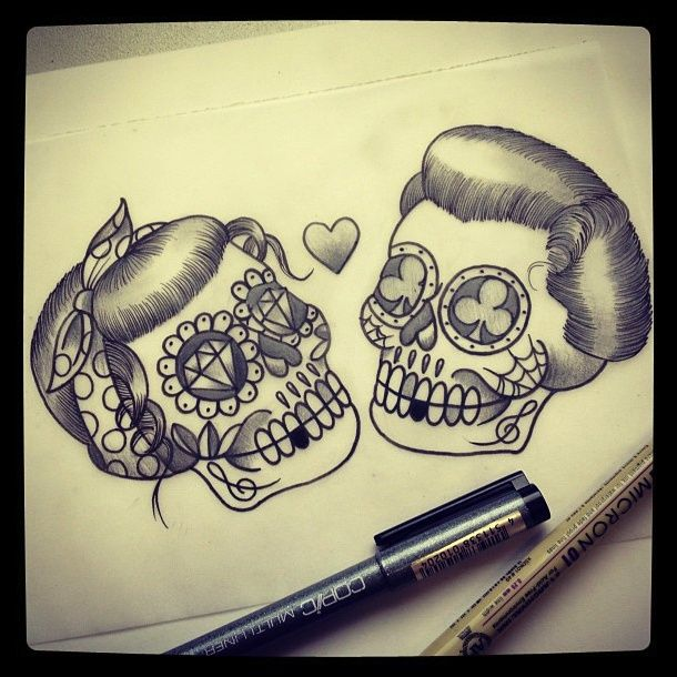 The 25 Best Ideas About Skull Couple Tattoo On Pinterest Skeleton