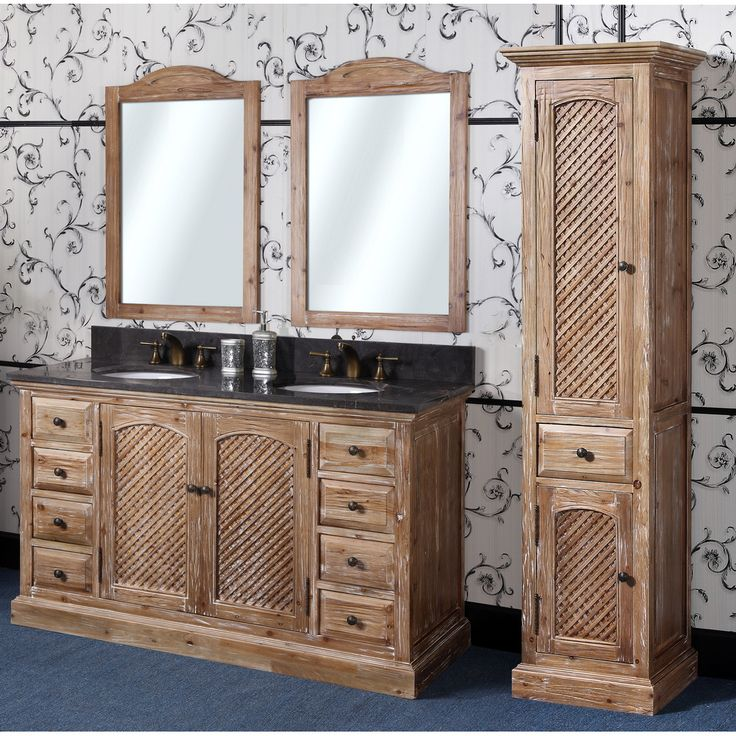 Abel 60 Inch Rustic Double Sink Bathroom Vanity Natural