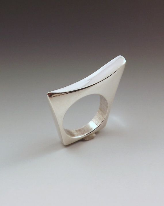 Sleek & Edgy Sterling Silver Ring Lost Wax Cast  One of by RedPaw, $129.00