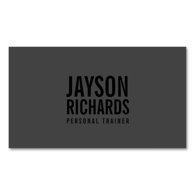 Bold Black/Gray Personal Trainer Business Card. Make your own business card with this great design. All you need is to add your info to this template. Click the image to try it out!