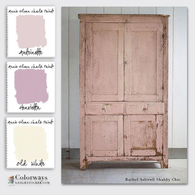 Colorways with Leslie Stocker » Rachel Ashwell Inspiration for Annie Sloan Chalk Paint® color palette. Antoinette. Henrietta. Old White