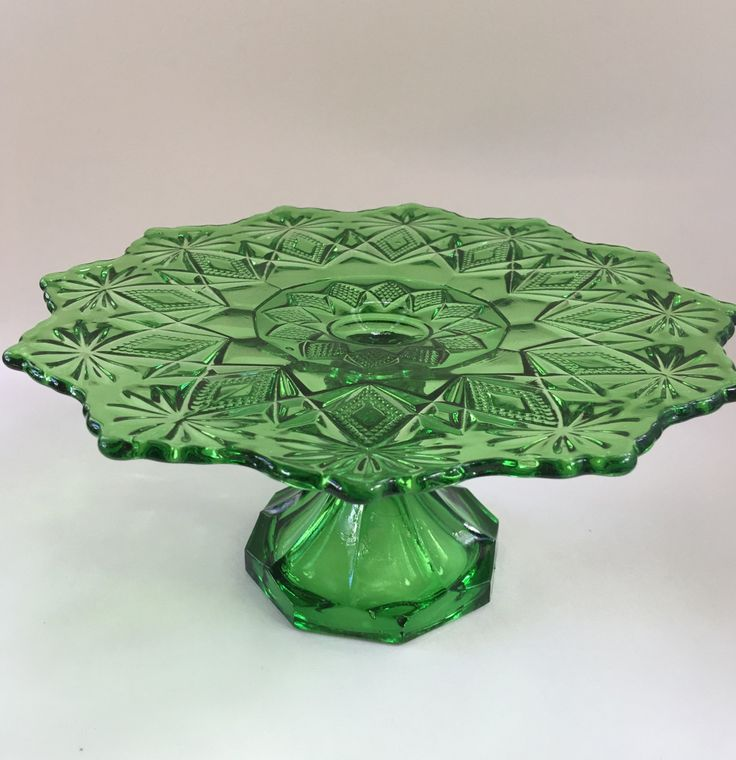 Antique 1895 US Glass Emerald Green Shoshone Pattern Cake Stand, Vintage Tiered Green Cake plate, Forest Green Wedding Cake plate by WhimsyCardsAndCurios on Etsy